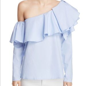NEW • MLM • One Shoulder Ruffle Blouse Blue S